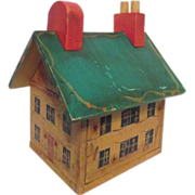 Folk Art Hand Painted House with Removable Roof