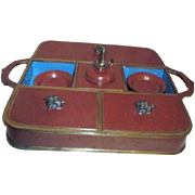 Antique Cloisonne  Opium Set with Foo Dog Handles
