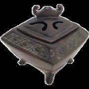 Antique Bronze Footed Incense Burner Stamped JB1882