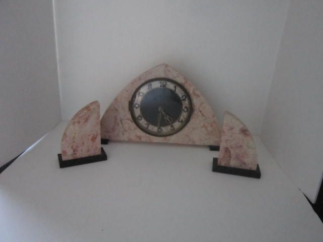Vintage Art Deco Marble Mantle Clock with Matching Book Ends