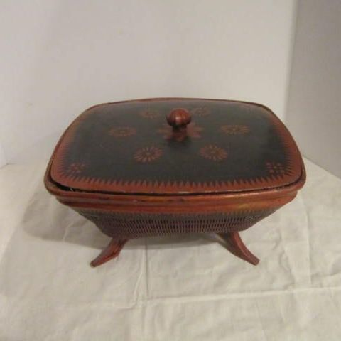 Vintage Oriental Red and Black Footed  Wood  Woven Bowl with Lid