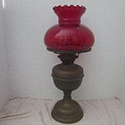 Antique Kerosene Oil Lamp with Ruby Red Glass Shade Double Wick Design
