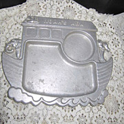 Vintage Pewter Child's Plate Noah's Ark Wall Hanging