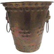 Brass Bucket with Two Lion Heads with Rings