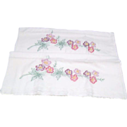 Pair of Pillowcases with Hand Embroidered Flowers and Leaves