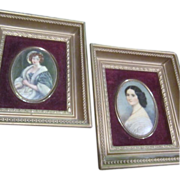 Pair of Framed Miniature Cameo Pictures
