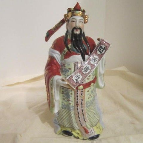 Vintage Chinese Ceramic Hand Painted Statue of Man Holding a Scroll