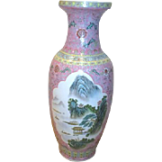 """Tall 25"""" High Chinese Vase with Mountain Scenes"""