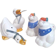 Two Set of Salt & Pepper Shakers Geese and Rabbits