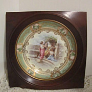 Antique Hand Painted Decorator Plate with Greek Scene in Wooden Frame