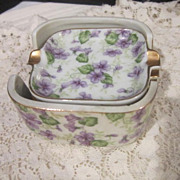 Vintage Lefton Bridge Set of Ash Trays with Violets