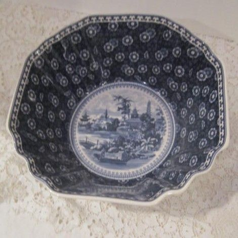 Vintage Blue & White Oriental Serving Bowl