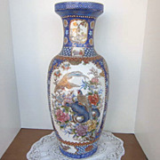 Vintage Chinese Vase with Birds Decorated with Gold