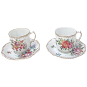 Pair of Saxony Demitasse Bone China Cups and Saucers