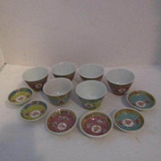Chinese Hand Painted Set of 6 Tea and 6 Sauce Bowls