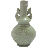 Celedon Oriental Vase/Spirits Bottle with Dragon Handles