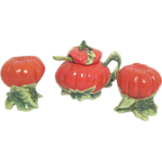 Matching Set of Tomato on Vines Salt & Pepper and Jam Pot with Spoon