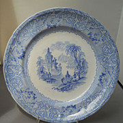 """T. J. @ J. Mayer blue and white transfer """"Rhone Scenery"""" plate, c. 1843-55"""