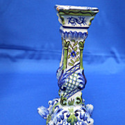 Vintage French Faience hand painted Candlestick marked Mosanic