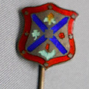 Unusual Enameled/Sterling Coat-of-arms Stickpin, c. 1930's