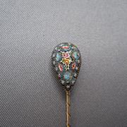 Incredible Micro mosaic stickpin, 1900's