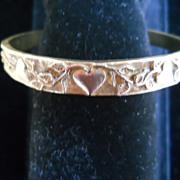 Sweet Brass half Bangle Bracelet with Hearts