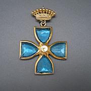 Beautiful Cross Pin/Pendant, Blue Glass Stones & Crown, 60's