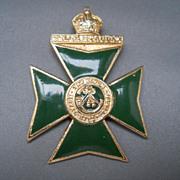 Enameled & Gold Wash Maltese Cross Pin or Pendant, 50's