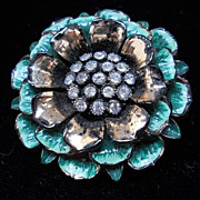 Unusual enamel on wood with rhinestones floral pin, c. 40's