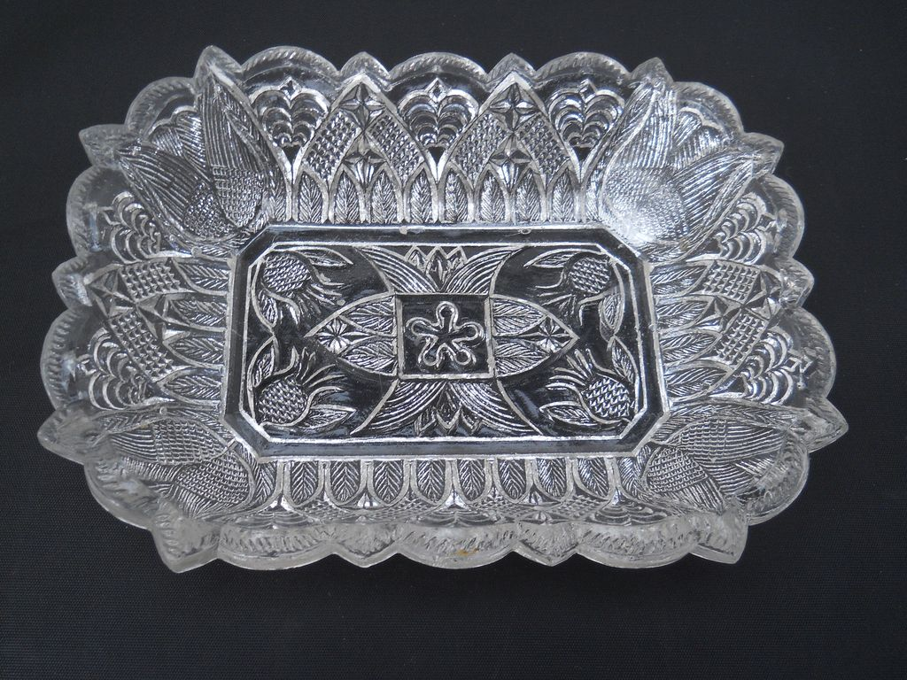 Sandwich Pressed Pineapple and Gothic Arch dish, c. 1830-45
