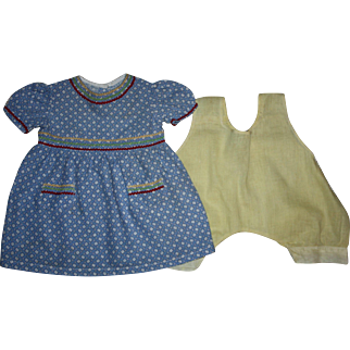 Mama Doll Dress and Chemise for Composition Dolls 1940s