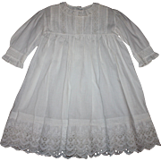 Antique White Baby Dress for Large Bisque Doll 1890