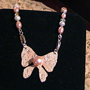 Bow & Pearl Necklace - Sterling