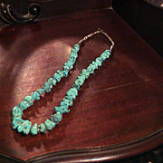 Lovely Vintage Turquoise nugget and Silver Necklace
