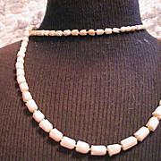 """Vintage Angel skin Coral Necklace 35"""" Carved Tulips"""