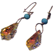 Lovely Large Swarovski Crystal and Sterling Earrings