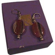 Argentinian Rodochrosite and Sterling Silver Earrings