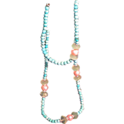 Artisan Dyed Turquoise, freshwater pearls, and Chalcedony Beads