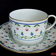 LIMOGES CERALENE Flat Cup & Saucer with Spur Handle