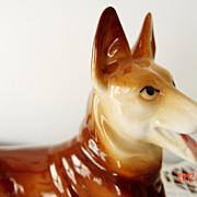 Porcelain German Shepherd Figurine marked GDR (German Democratic Republic)
