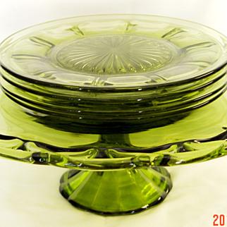 Blown Glass Pedestal Cake Platter with Heisey Dessert Plates