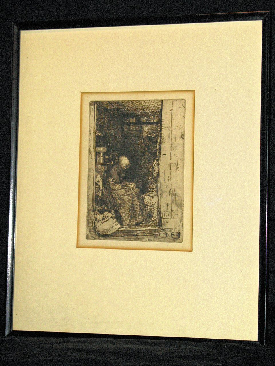 La Vielle aux Logues (The Old Rag-Woman) an etching by Whistler