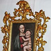 Antique Florentine 19th c. Carved, Pierced Gilded Frame
