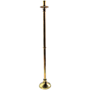 Tall Brass Floor Alter Stick with Religious Silk Appliqued Topper