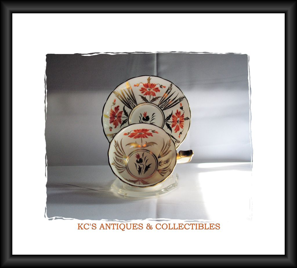 Chelsea Orange & Gold Cup & Saucer Pattern: #182A