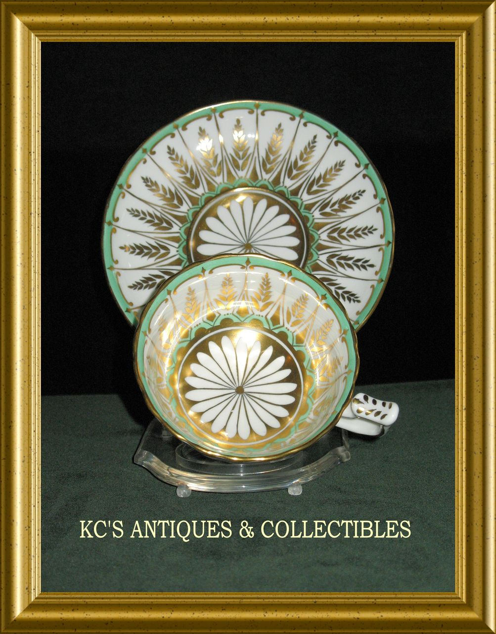 Dazzling Cup and Saucer by Royal Chelsea in white, green and gold décor; Pattern Number 226A; Circa  Mid-20th Century