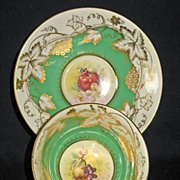 Royal Chelsea Green & White fruit center cup and saucer.