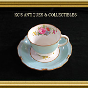 Royal Crown Derby in the Rosemary Celedon pattern (A277) hand painted and signed by artist, F. Garnett