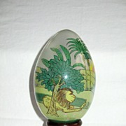 """Treasured Visions"" Reverse (Inside) Painted Glass Egg with Wooden Stand"