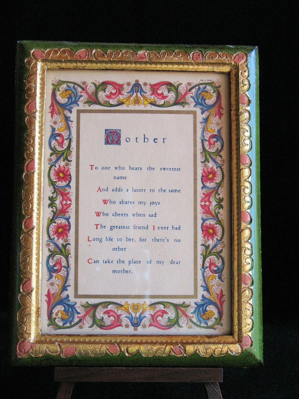 "Florentia Hand Painted Frame and Manuscript Titled ""Mother"""
